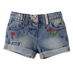 Джинсовые шорты для девочки Цветочки оптом (код товара: 49204): купить в Berni