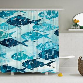 Штора для ванной Рыбы 180 х 180 см (код товара: 49428): купить в Berni