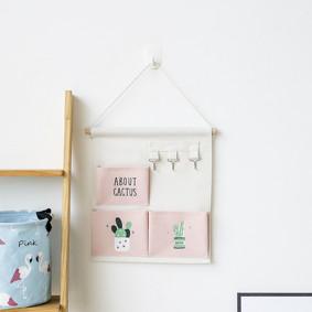 Органайзер настенный для хранения Розовый Кактусы (30 х 24 см. / 3 ячейки) (код товара: 49584): купить в Berni
