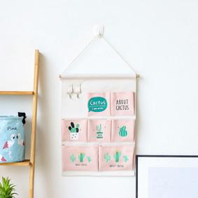 Органайзер настенный для хранения Розовый Кактусы (50 х 35 см. / 7 ячеек) (код товара: 49564): купить в Berni