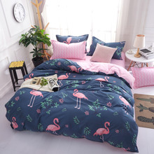 Уценка (дефекты)! Комплект постельного белья Фламинго и цветы  (двуспальный-евро) (код товара: 49633)