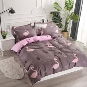 Уценка (дефекты)! Комплект постельного белья Фламинго с простынью на резинке (евро) (код товара: 49669): купить в Berni