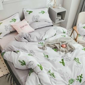 Уценка (дефекты)! Комплект постельного белья Кактусы (двуспальный-евро) (код товара: 49699): купить в Berni