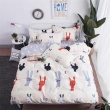 Уценка (дефекты)! Комплект постельного белья Зайцы (двуспальный-евро) (код товара: 49650)