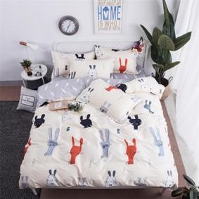 Уценка (дефекты)! Комплект постельного белья Зайцы (двуспальный-евро) (код товара: 49650): купить в Berni