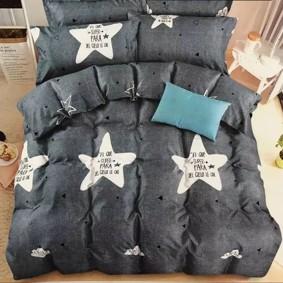 Уценка (дефекты)! Комплект постельного белья Звезда с простынью на резинке (двуспальный-евро) (код товара: 49711): купить в Berni