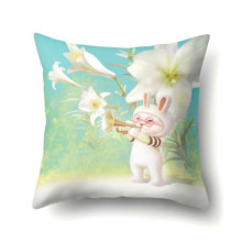 Наволочка декоративная Кролик - музыкант 45 х 45 см (код товара: 50077)