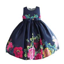 Платье для девочки Пионы, синий оптом (код товара: 50618)