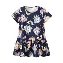 Платье для девочки Радуга и единорог оптом (код товара: 50695)