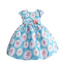 Платье для девочки Розы, голубой (код товара: 50603)