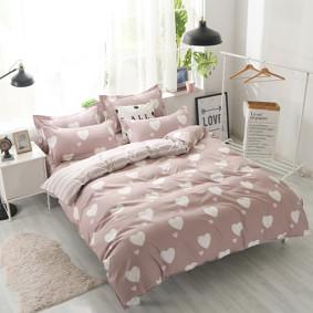 Уценка (без наволочек!) Комплект постельного белья Белое сердце с простынью на резинке (евро) (код товара: 50717): купить в Berni