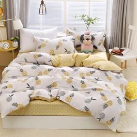 Уценка (дефекты)! Комплект постельного белья Ананасы (полуторный) (код товара: 50737): купить в Berni