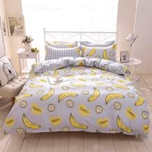 Уценка (дефекты)! Комплект постельного белья Банан с простынью на резинке (двуспальный-евро) (код товара: 50725)