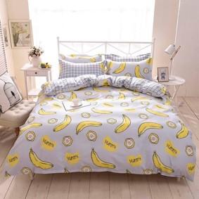 Уценка (дефекты)! Комплект постельного белья Банан с простынью на резинке (двуспальный-евро) (код товара: 50725): купить в Berni