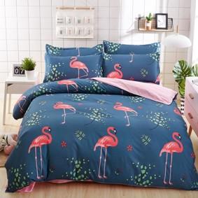 Уценка (дефекты)! Комплект постельного белья Большой фламинго (двуспальный-евро) (код товара: 50746): купить в Berni