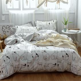 Уценка (дефекты)! Комплект постельного белья Котики (полуторный) (код товара: 50734): купить в Berni