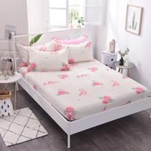Уценка (дефекты)! Простынь на резинке Фламинго и цветы 150x200+25 см (код товара: 50713)