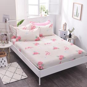 Уценка (дефекты)! Простынь на резинке Фламинго и цветы 150x200+25 см (код товара: 50713): купить в Berni