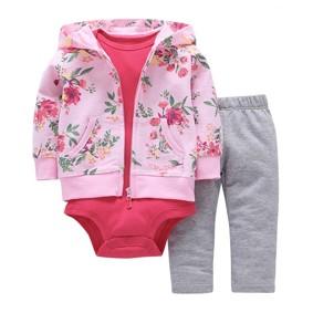 Уценка (дефекты)! Комплект для девочки 3 в 1 Цветы оптом (код товара: 50859): купить в Berni