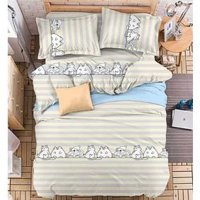 Уценка (дефекты)! Комплект постельного белья Коты (двуспальный-евро) (код товара: 50968): купить в Berni