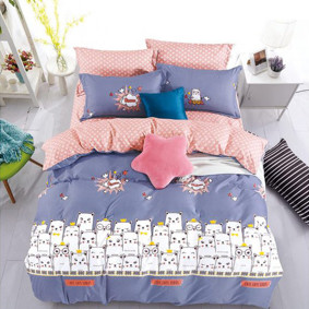 Уценка (дефекты)! Комплект постельного белья Коты с простынью на резинке (полуторный) (код товара: 50965): купить в Berni