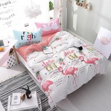 Уценка (дефекты)! Комплект постельного белья Милый фламинго (двуспальный-евро) (код товара: 50969)