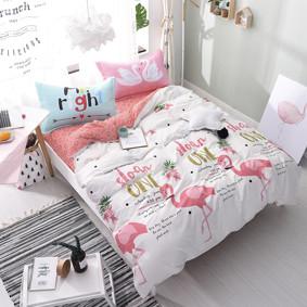 Уценка (дефекты)! Комплект постельного белья Милый фламинго (двуспальный-евро) (код товара: 50969): купить в Berni