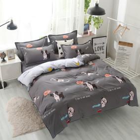 Уценка (дефекты)! Комплект постельного белья Пес с простынью на резинке (евро) (код товара: 51072): купить в Berni