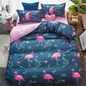 Уценка (дефекты)! Комплект постельного белья Розовый фламинго с простынью на резинке (двуспальный-евро) (код товара: 51074): купить в Berni