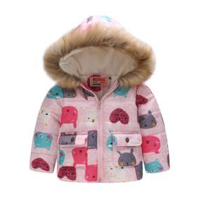 Демисезонная куртка для девочки Мордочки зверьков, Pink (код товара: 51141): купить в Berni