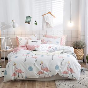 Уценка (дефекты)! Комплект постельного белья Королевский фламинго (полуторный) оптом (код товара: 51102): купить в Berni