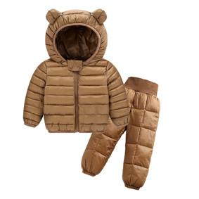 Комплект демисезонный (куртка + штаны) детский, Ушки, коричневый оптом (код товара: 51285): купить в Berni
