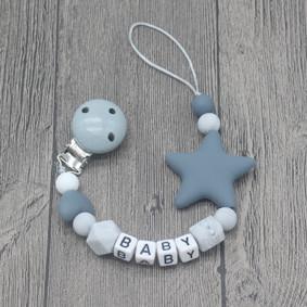 Прорезыватель-держатель для пустышки Звёздочка, серый (код товара: 51622): купить в Berni