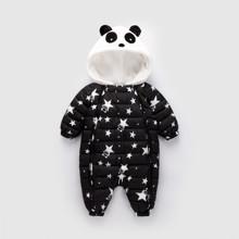 Комбинезон утепленный детский Звёздная панда, чёрный (код товара: 51891)