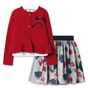 Комплект для девочки 3 в 1 Модница, красный оптом (код товара: 51828): купить в Berni