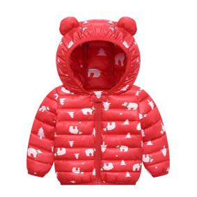 Куртка-пуховик детская Белые мишки, красный оптом (код товара: 51897): купить в Berni