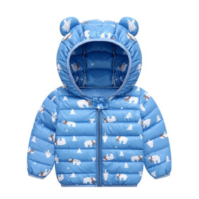 Куртка-пуховик детская Белые мишки, синий оптом (код товара: 51893): купить в Berni