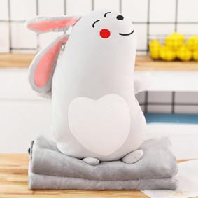Мягкая игрушка - подушка с пледом Плюшевый кролик, 50см (код товара: 51865): купить в Berni
