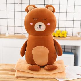 Мягкая игрушка - подушка с пледом Плюшевый медведь, 50см (код товара: 51864): купить в Berni