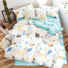 Комплект постельного белья Лесные зверята (двуспальный-евро) (код товара: 53290)