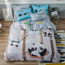 Комплект постельного белья Panda Park с простынью на резинке (двуспальный-евро) (код товара: 53298)