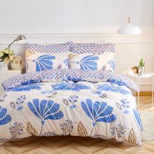 Уценка (дефекты)! Комплект постельного белья Абстрактные цветы (двуспальный-евро) (код товара: 53503)