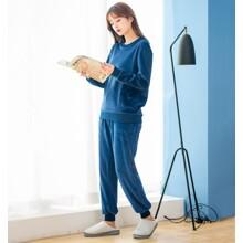 Костюм жіночий домашній велюровий 2 в 1 Фантазія, синій (код товара: 54099)