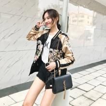 Куртка женская двусторонняя из сатиновой ткани с вышивкой Bird (код товара: 55636)