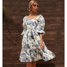 Платье женское с объемными рукавами Blue flower (код товара: 58803)