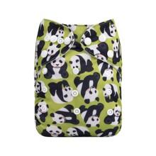 Подгузник детский многоразовый с вкладышем и изображением панды зеленый Giant pandas (код товара: 59327)