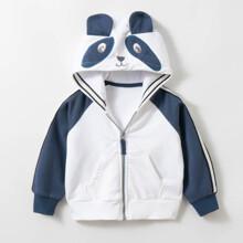 Кофта детская с капюшоном и карманами белая Панда (код товара: 59497)